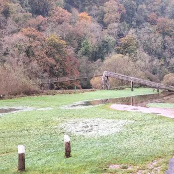 Flood waters receeding under Biblins bridge