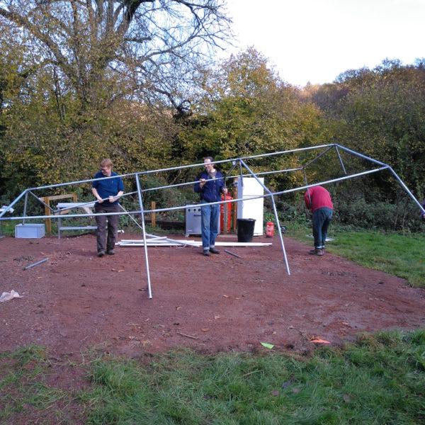 Taking down the ktichen tent frame