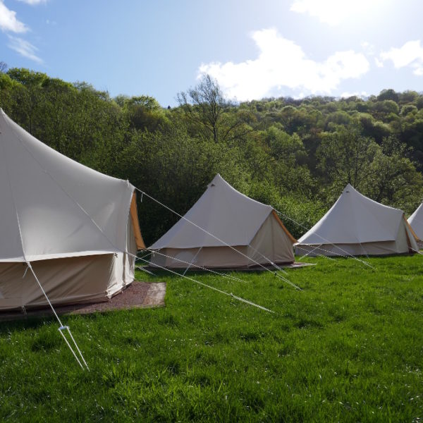 Sunshine over a line of bell tents