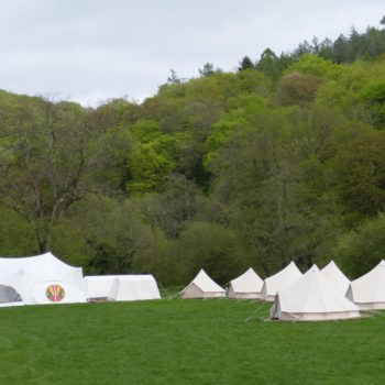 Camp Kudoo, showing the marquee, kitchen, store and bell tents