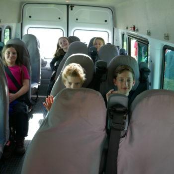 Children in a minibus