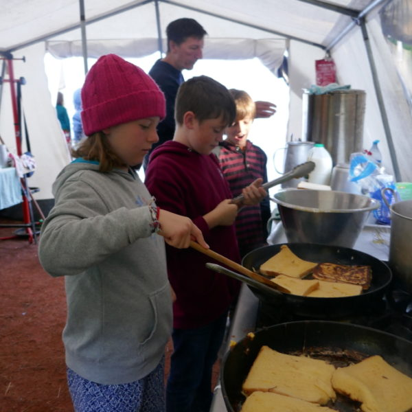 Children frying eggy bread