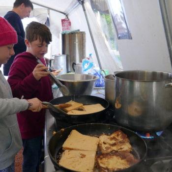 Children cooking eggy bread