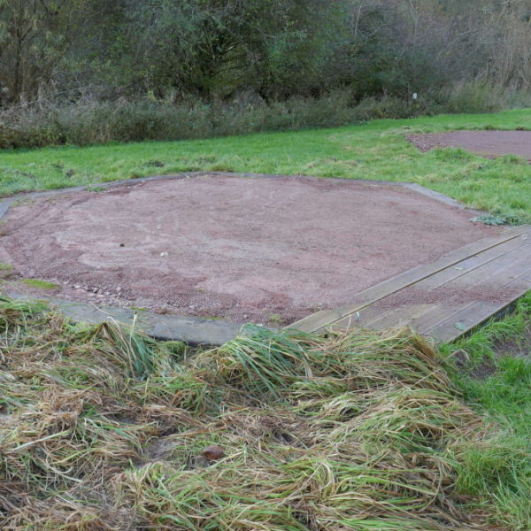Koodoo tent base that has remained intact through the floods