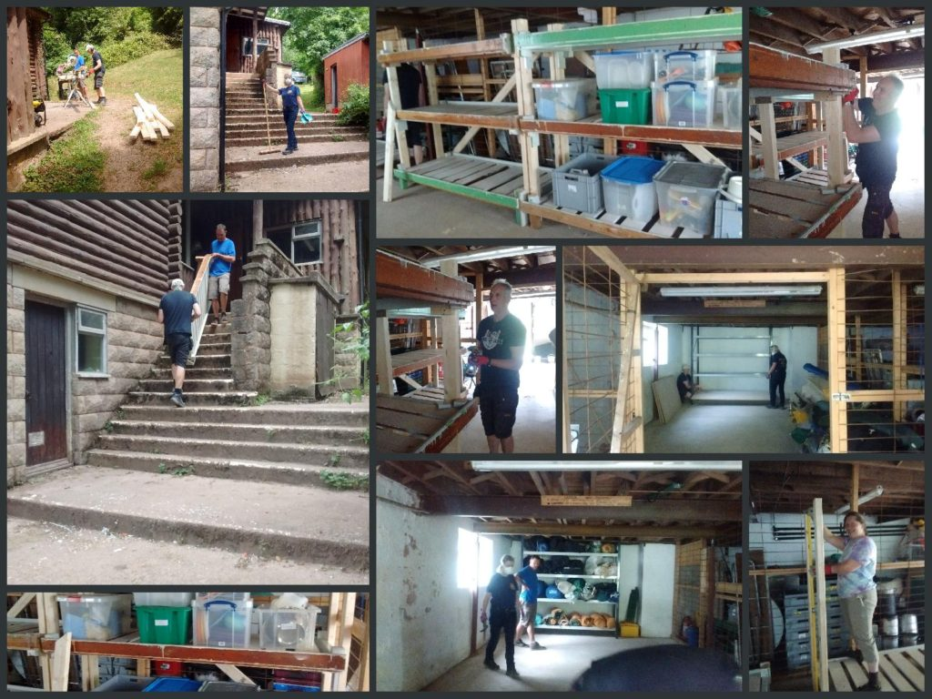 Collage of people building shelves and sorting equipment.