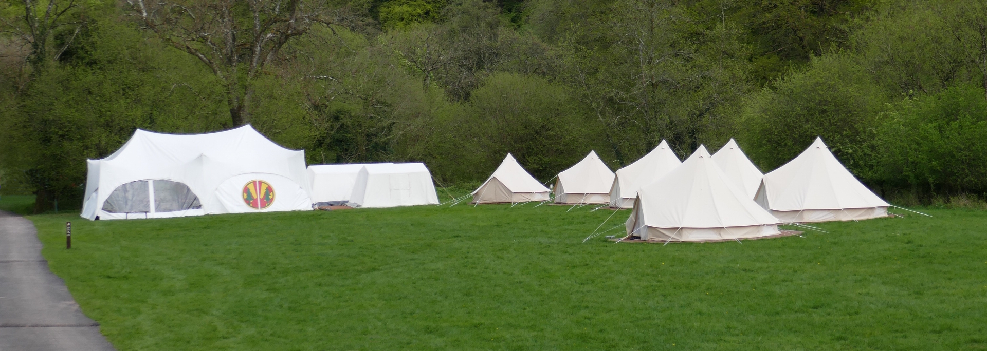 Camp Kudoo, showing marquee, kitchen, store and bell tents