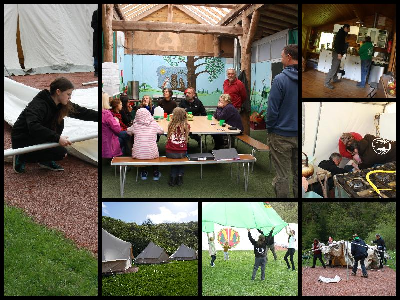 Collages of a working weekend, people cooking, puttting up tents, playing parachute games and training.